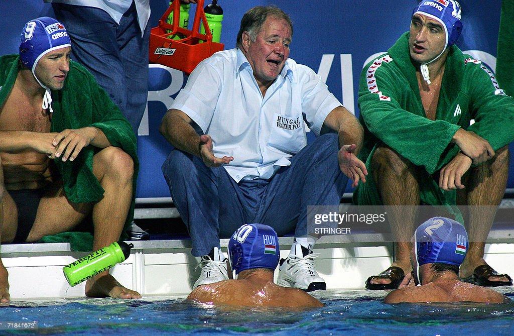 Hungarian coach Denes Kemeny directs his team Rajmund Fodor Tamas Molnar Denes Varga and Daniel Varga in Tusmajdan swimming pool of Belgrade 10...