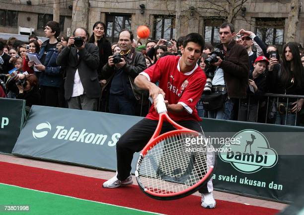 Serbian tennis player Novak Djokovic plays demonstrative tennis match in Belgrade 04 April 2007 prior to a Davis Cup match against Georgia on 06...