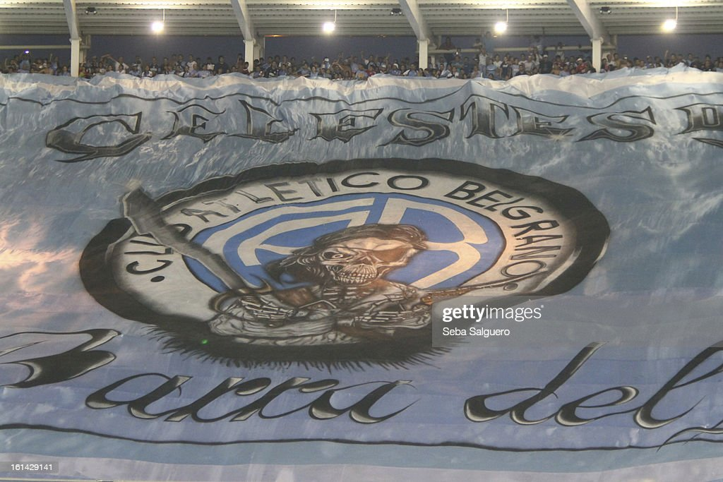 Belgrano supporters display a banner during the match between Belgrano and River for the Torneo Final 2013 on February 10, 2013 in Cordoba, Argentina.