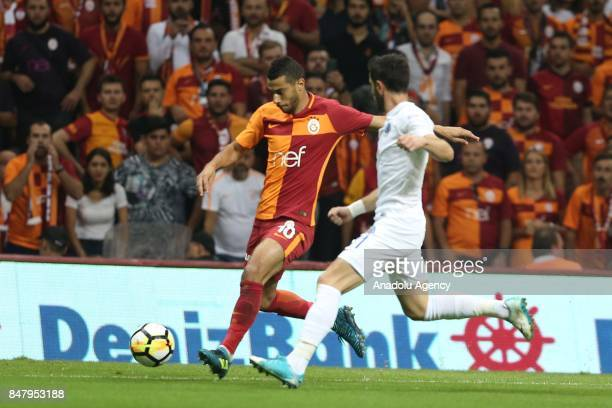 Belhanda of Galatasaray in action during the fifth week of the Turkish Super Lig match between Galatasaray and Kasimpasa at Turk Telekom Stadium in...