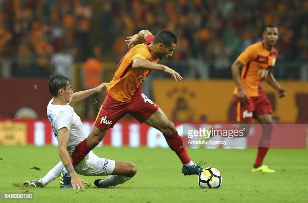 Belhanda of Galatasaray in action during the fifth week of the Turkish Super Lig soccer match between Galatasaray and Kasimpasa at Turk Telekom...