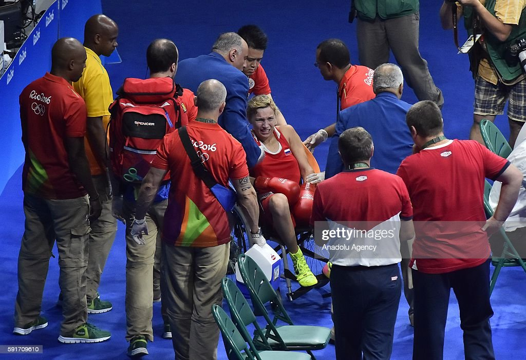 Beliakova Anastasiia of Russia breaks her arm during the Womens Light 5760kg Semifinal 2 on Day 12 of the 2016 Rio Olympics at Riocentro Pavilion 6...