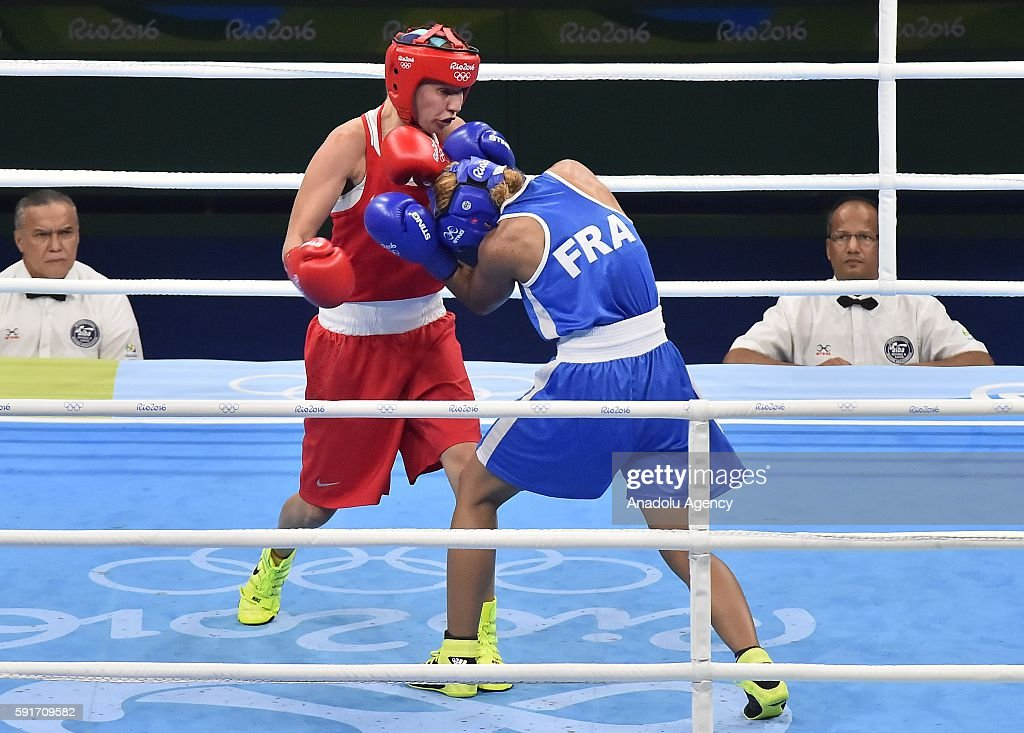 Beliakova Anastasiia of Russia fights Mossely Estelle of France in their Womens Light 5760kg Semifinal 2 on Day 12 of the 2016 Rio Olympics at...