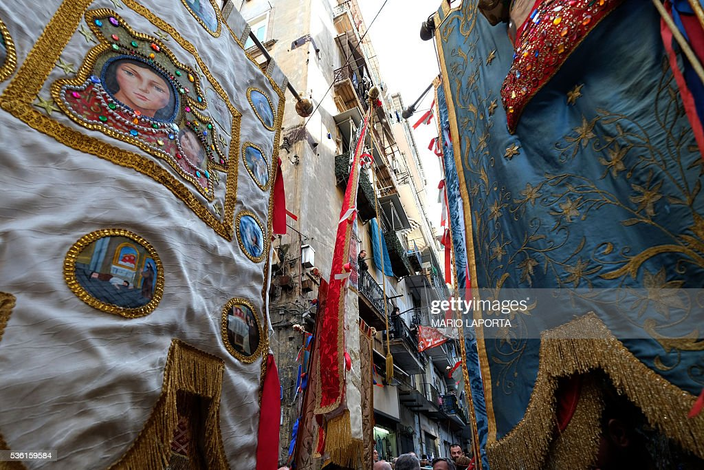 Believers take part in a procession against Neapolitan mafia (Camorra) during a rally organized by Crescenzio Sepe, the Archbishop of Naples, on May 31, 2016. LAPORTA