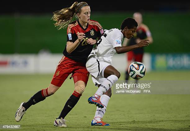 Belinda Anane of Ghana battles with Stefanie Sanders of Germany during the FIFA U17 Women's World Cup Grroup B match between Ghana and Germany at...