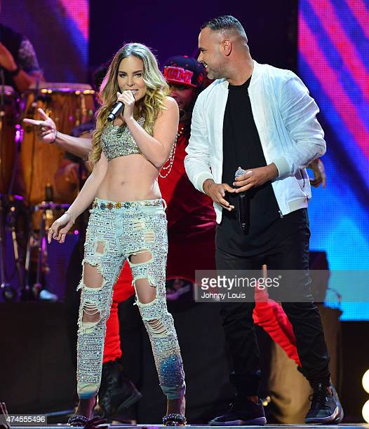 Belinda and Juan Magan performs at the 2015 Billboard Latin Music Awards presented by State Farm on Telemundo at Bank United Center on April 30 2015...