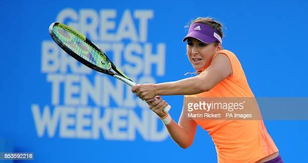 Belinda Bencic in action against Daniela Hantuchova during the AEGON Classic at Edgbaston Priory Club Birmingham