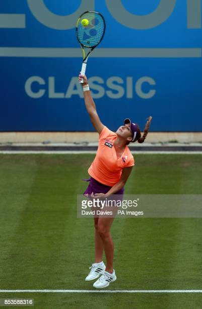 Belinda Bencic in action against Donna Vekic during the AEGON Classic at Edgbaston Priory Club Birmingham