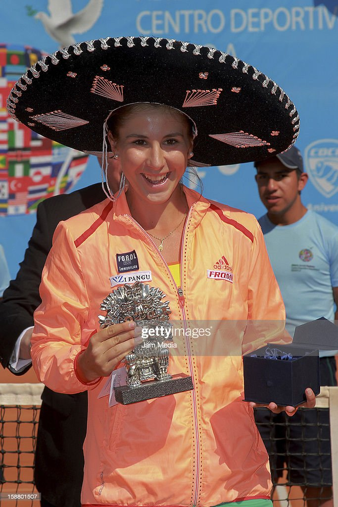 Belinda Bencic of Suiza with champion trophy, during the Mexican Youth Tennis Open at Deportivo Chapultepec on December 29, 2012 in Mexico City, Mexico.