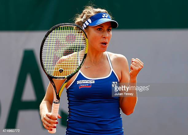 Belinda Bencic of Switzerland celebrates a point in her Women's Singles match against Madison Keys of the United States on day five of the 2015...