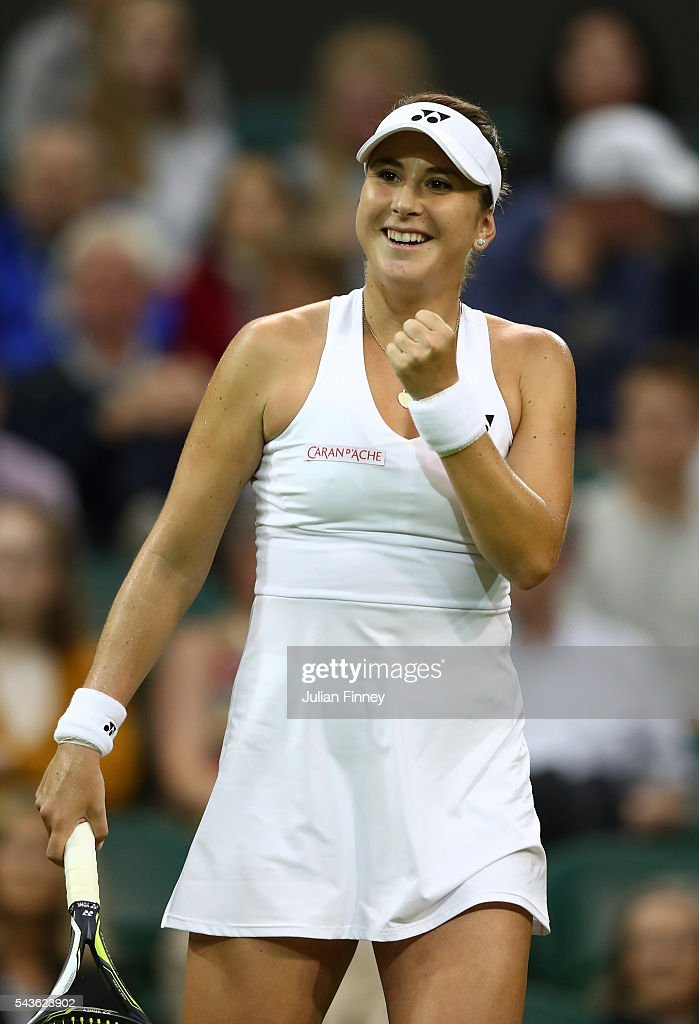 Belinda Bencic of Switzerland celebrates during the Ladies Singles second round match against Tsvetana Pironkova of Bulgaria on day three of the Wimbledon Lawn Tennis Championships at the All England Lawn Tennis and Croquet Club on June 29, 2016 in London, England.