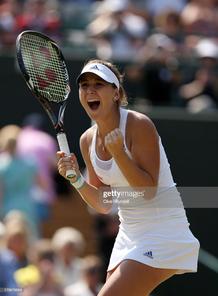 <a gi-track='captionPersonalityLinkClicked' href=/galleries/search?phrase=Belinda+Bencic&family=editorial&specificpeople=8837181 ng-click='$event.stopPropagation()'>Belinda Bencic</a> of Switzerland celebrates match point during the Girls' Singles final match against Taylor Townsend of the United States of America on day twelve of the Wimbledon Lawn Tennis Championships at the All England Lawn Tennis and Croquet Club on July 6, 2013 in London, England.