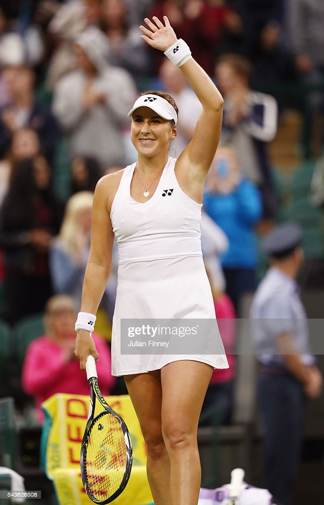 Belinda Bencic of Switzerland celebrates victory during the Ladies Singles second round match against Tsvetana Pironkova of Bulgaria on day three of the Wimbledon Lawn Tennis Championships at the All England Lawn Tennis and Croquet Club on June 29, 2016 in London, England.