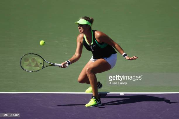 Belinda Bencic of Switzerland in action against Sara Errani of Italy at Crandon Park Tennis Center on March 21 2017 in Key Biscayne Florida