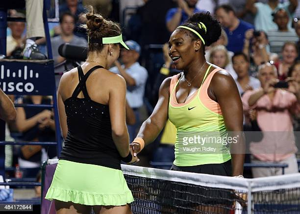 Belinda Bencic of Switzerland is congratulated by Serena Williams of the USA during Day 6 of the Rogers Cup at the Aviva Centre on August 15 2015 in...