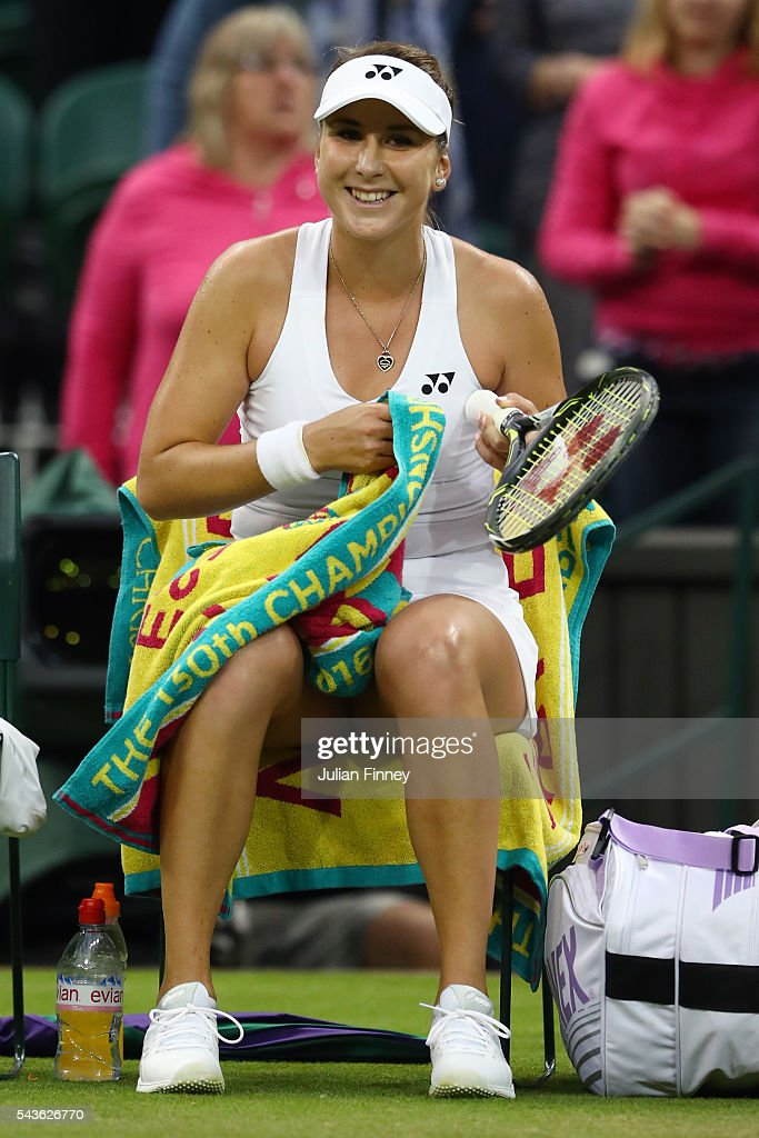 <a gi-track='captionPersonalityLinkClicked' href=/galleries/search?phrase=Belinda+Bencic&family=editorial&specificpeople=8837181 ng-click='$event.stopPropagation()'>Belinda Bencic</a> of Switzerland looks on following victory during the Ladies Singles second round match against Tsvetana Pironkova of Bulgaria on day three of the Wimbledon Lawn Tennis Championships at the All England Lawn Tennis and Croquet Club on June 29, 2016 in London, England.