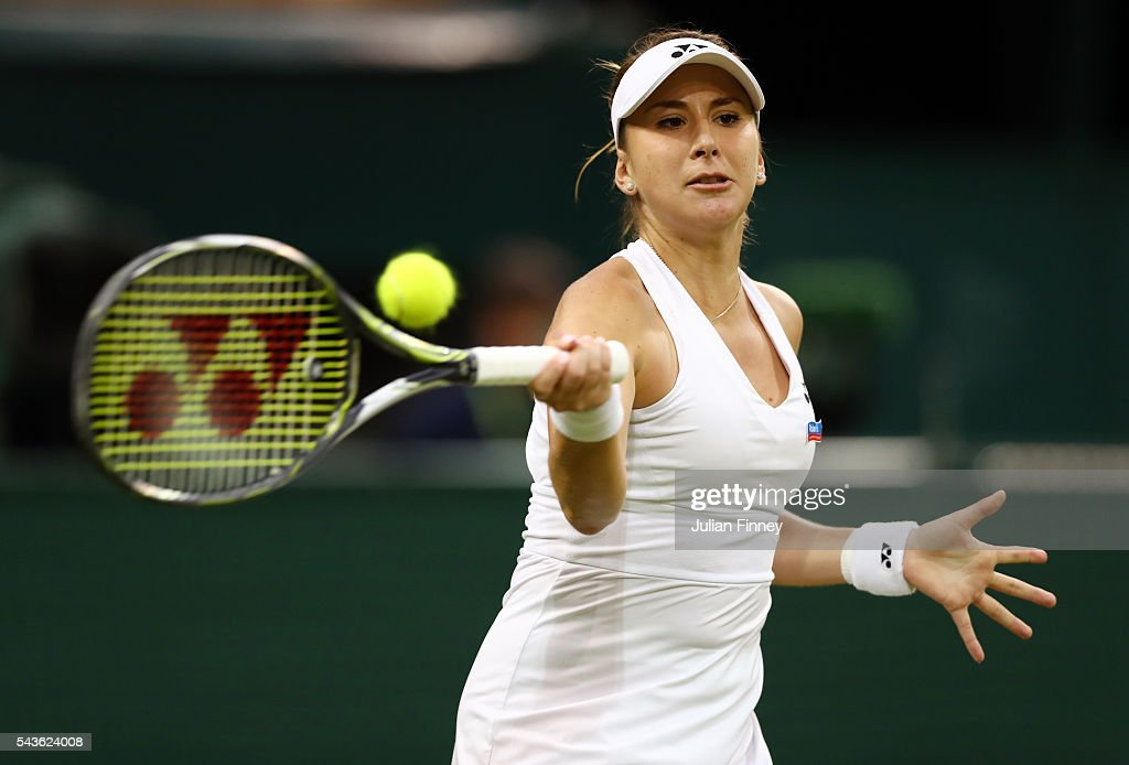 Belinda Bencic of Switzerland plays a forehand during the Ladies Singles second round match against Tsvetana Pironkova of Bulgaria on day three of the Wimbledon Lawn Tennis Championships at the All England Lawn Tennis and Croquet Club on June 29, 2016 in London, England.