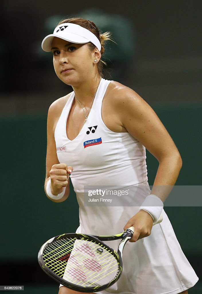 <a gi-track='captionPersonalityLinkClicked' href=/galleries/search?phrase=Belinda+Bencic&family=editorial&specificpeople=8837181 ng-click='$event.stopPropagation()'>Belinda Bencic</a> of Switzerland reacts during the Ladies Singles second round match against Tsvetana Pironkova of Bulgaria on day three of the Wimbledon Lawn Tennis Championships at the All England Lawn Tennis and Croquet Club on June 29, 2016 in London, England.