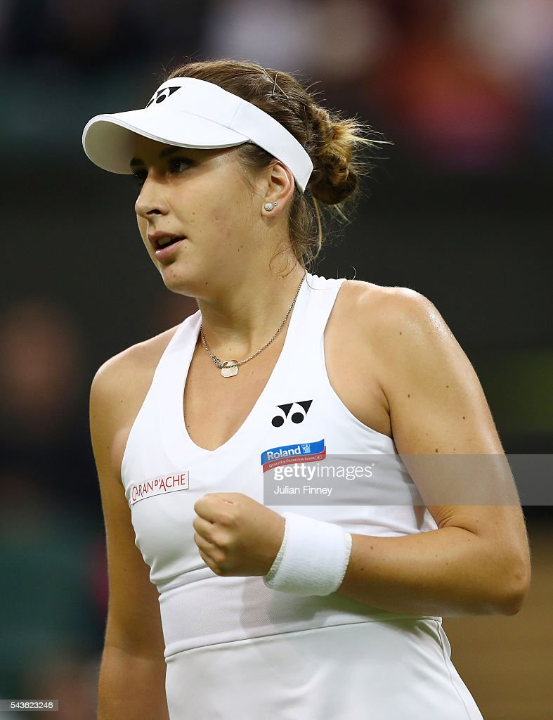 Belinda Bencic of Switzerland reacts during the Ladies Singles second round match against Tsvetana Pironkova of Bulgaria on day three of the Wimbledon Lawn Tennis Championships at the All England Lawn Tennis and Croquet Club on June 29, 2016 in London, England.