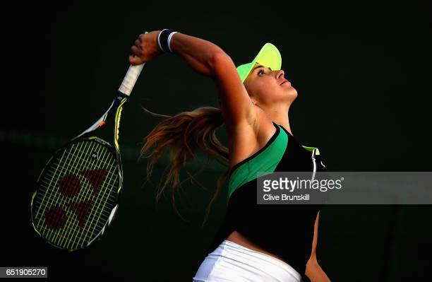 Belinda Bencic of Switzerland serves against Kiki Bertens of the Netherlands during their second round match on day five of the BNP Paribas Open at...