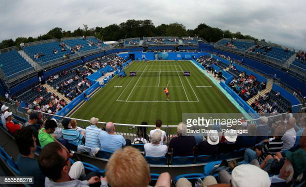 Belinda Bencic takes on Donna Vekic during the AEGON Classic at Edgbaston Priory Club Birmingham