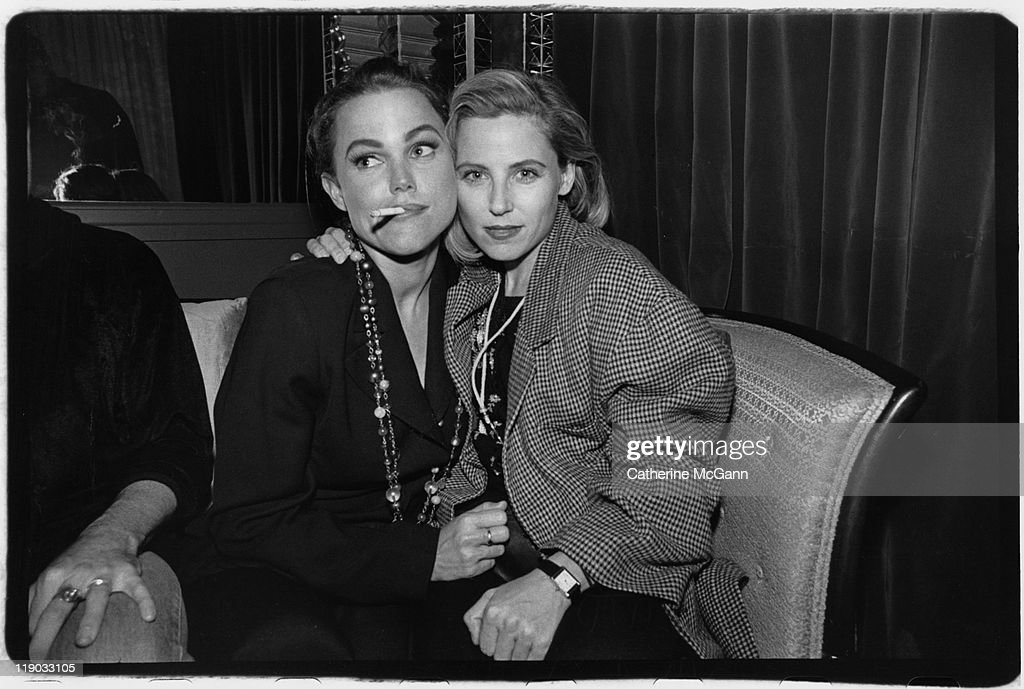 Belinda Carlisle and Gina Shock of the GoGo's pose for a photo at an event in 1991in New York City New York