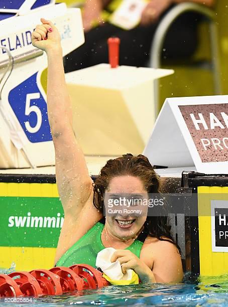 Belinda Hocking of Australia celebrates winning the Women's 200 Metre Backstroke during day seven of the 2016 Australian Swimming Championships at...