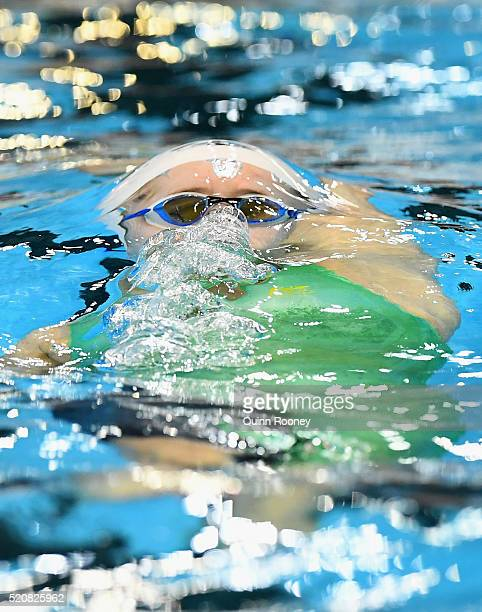 Belinda Hocking of Australia competes in the Women's 200 Metre Backstroke during day seven of the 2016 Australian Swimming Championships at the South...