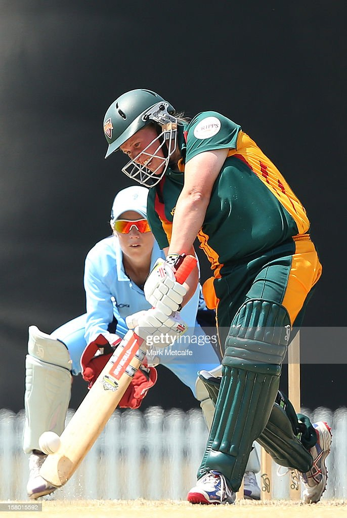 Belinda Page of the Roar bats during the women's Twenty20 match between the New South Wales Breakers and the Tasmania Roar at Blacktown International Sportspark on December 9, 2012 in Sydney, Australia.