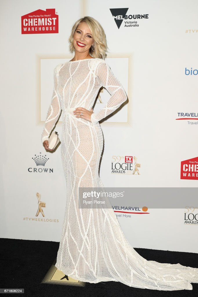 Belinda Russell arrives at the 59th Annual Logie Awards at Crown Palladium on April 23, 2017 in Melbourne, Australia.