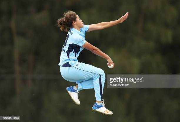 Belinda Vakarewa of NSW bowls during the WNCL match between New South Wales and Queensland at Blacktown International Sportspark on October 6 2017 in...