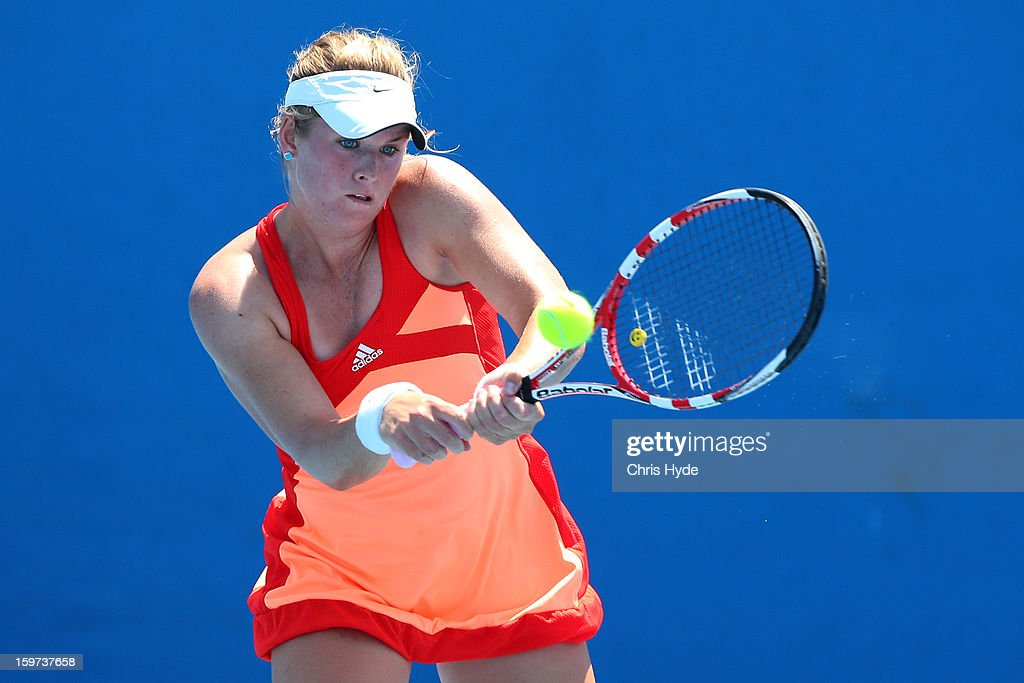 Belinda Woolcock of Australia plays a shot in her first round match against Ching-Wen Hsu of Chinese Taipei during the 2013 Australian Open Junior Championships at Melbourne Park on January 20, 2013 in Melbourne, Australia.