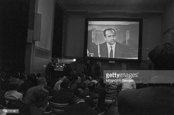 Belkacem Krim At The Evian Conference In 1961 France Evian 15 juin 1961 une délégation algérienne se rend à la première conférence d'Evian afin de...