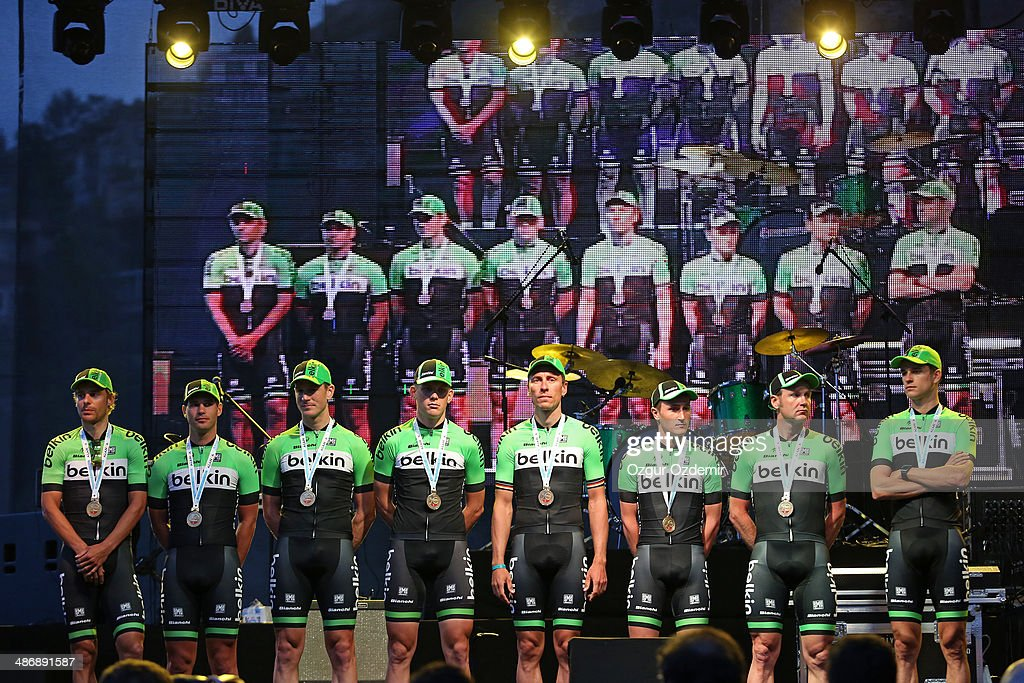 Belkin Pro Cycling Team attends the opening ceremony of the 50th Presidential Cycling Tour at Alanya in the Mediterranean resort city of Antalya on April 26, 2014 in Antalya, Turkey. The Presidential Cycling Tour of Turkey will be held between April 27 and May 4.