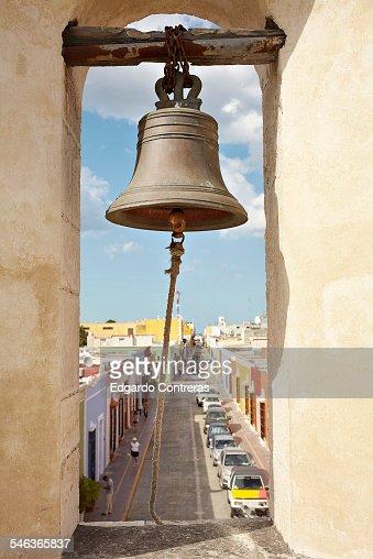 Bell atop 'Puerta de Tierra' in Campeche, Mexico