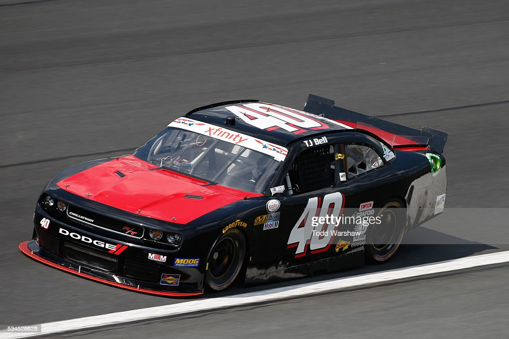 TJ Bell, driver of the #40 OCR Gaz Bar Dodge, drives during practice for the NASCAR XFINITY Series Hisense 4K TV 300 at Charlotte Motor Speedway on May 27, 2016 in Charlotte, North Carolina.