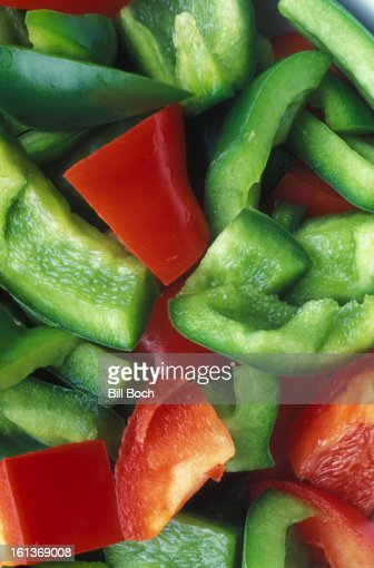 Bell peppers cut up closeup : Stock Photo