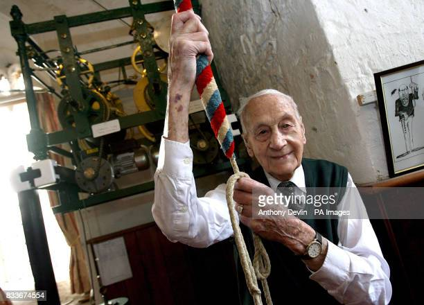 Bell ringer Norman Yeo who is 100 years old tomorrow prepares to ring the bells for the Sunday service at All Saints Church in Long Ashton Bristol