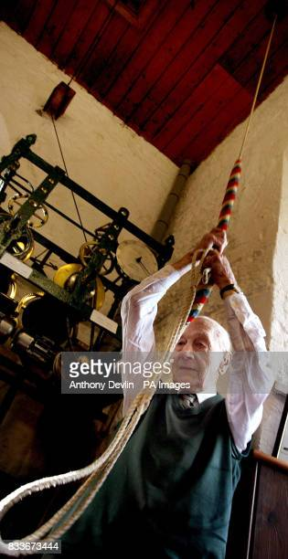 Bell ringer Norman Yeo who is 100 years old tomorrow rings the bells for the Sunday service at All Saints Church in Long Ashton Bristol