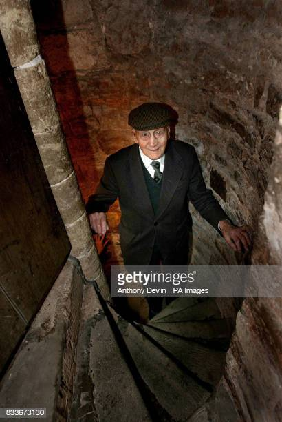 Bell ringer Norman Yeo who is 100 years old tomorrow walks up the church tower steps before ringing the bells for the Sunday service at All Saints...