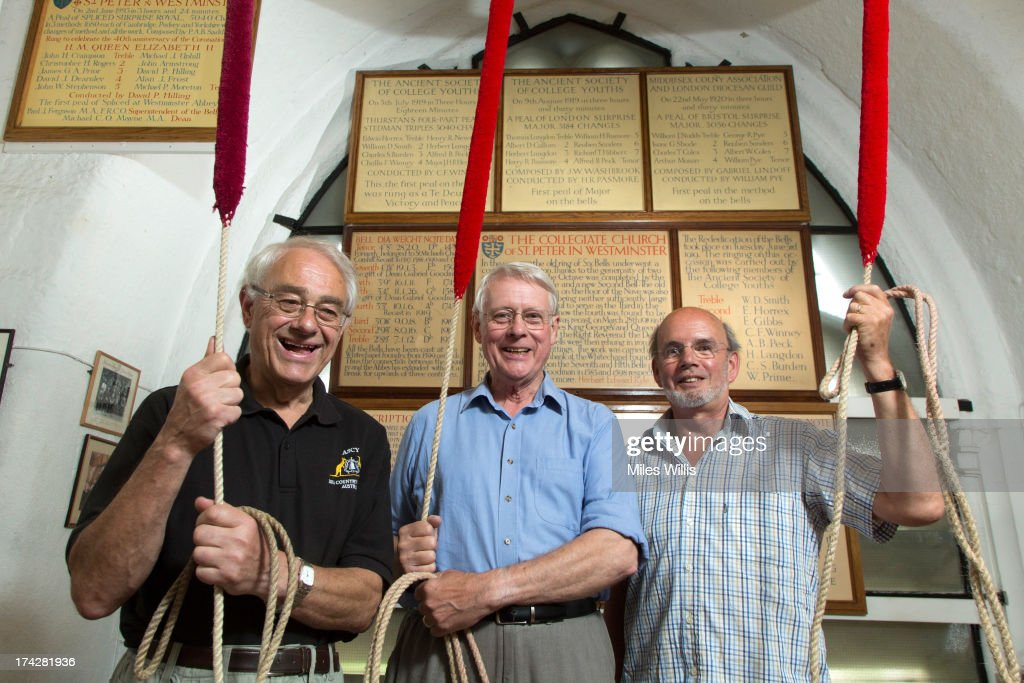 Bell ringers (L-R) Chris Rogers, Clark Walters and Alan Frost pose prior to ringing a Peal Composition of Cambridge Surprise Royal at Westminster Abbey on July 23, 2013 in London, England. The Duchess of Cambridge yesterday gave birth to a boy at 16.24 BST and weighing 8lb 6oz, with Prince William at her side. The baby, as yet unnamed, is third in line to the throne and becomes the Prince of Cambridge.