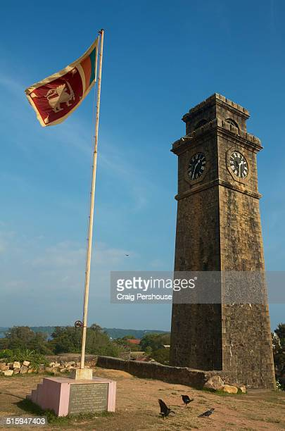 Bell tower and Sri Lankan flag in Galle Fort.