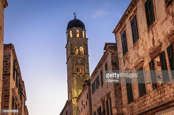 Bell tower at night in the city of Dubrovnik, Croatia