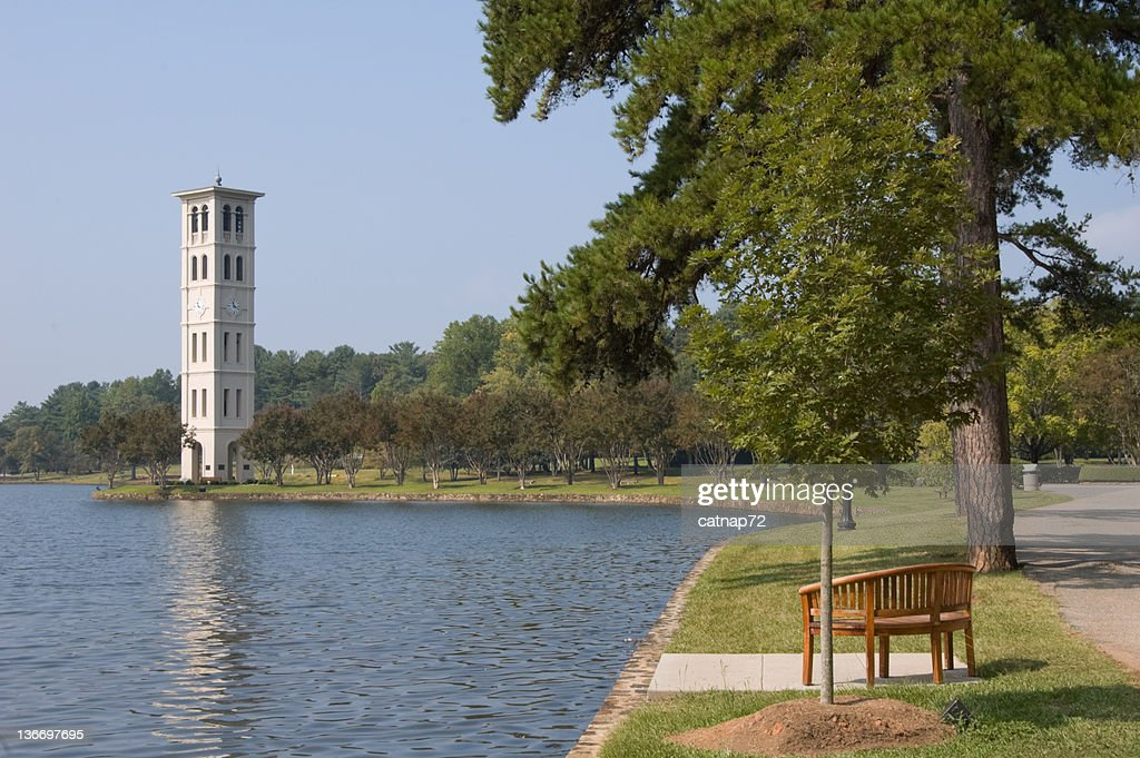 Bell Tower Carillon by Scenic Lake, Furman College, South Carolina
