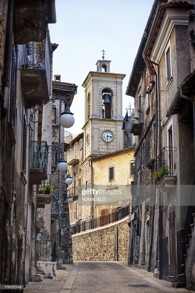 Bell tower in Piazza Vecchia, Scanno, L'Aquila Province, Abruzzi Italy