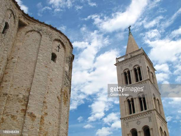 Bell Tower next to the Romanesque Church of St Donatus of Zadar in the northeastern part of the Roman Forum in the city Dalmatia Croatia