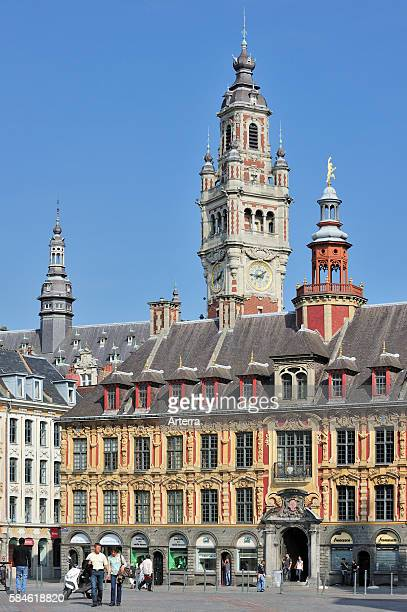 Bell tower of Chamber of Commerce and La Vieille Bourse at the Place du General de Gaulle Lille France