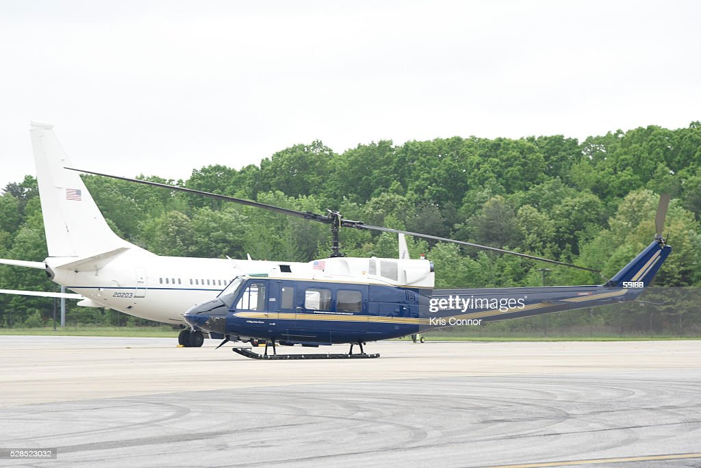 A Bell UH-1N Huey is on display during for the 75th Anniversary USO Show at Joint Base Andrews on May 5, 2016 in Camp Springs, Md.