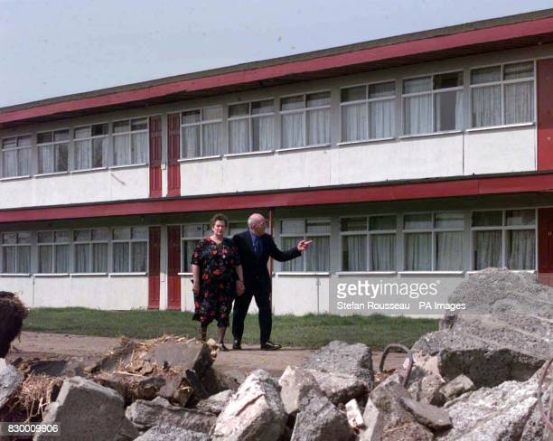 Bella and Ivan Skates walk amongst amongst the rubble of a soon to be demolished Butlins Holiday Camp in Skegness today where they have been coming 4...