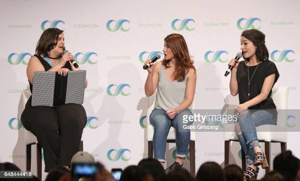 Bella Books Blog managing editor Dana Piccoli and actresses Elise Bauman and Natasha Negovanlis speak at the 'Hollstein Reunion' panel during...